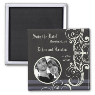 "2""x2"" Save the Date Magnet Black Tie Affair"