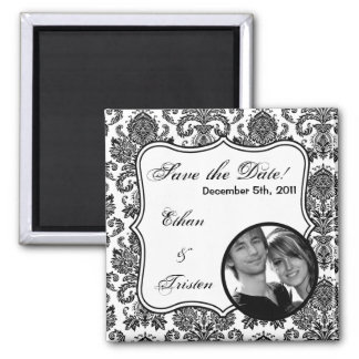 """2""""x2"""" Save the Date Magnet Black White Damask Lace"""