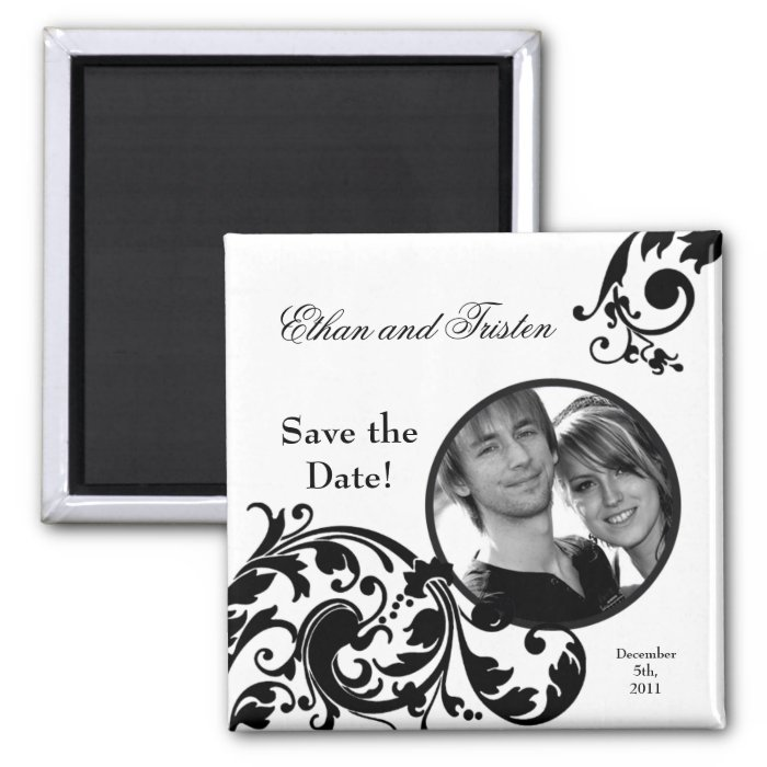 "2""x2"" Save the Date Magnet Black White Floral"