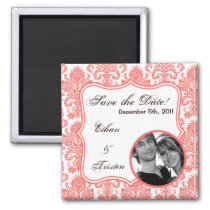 "2""x2"" Save the Date Magnet Coral White Damask Lace"