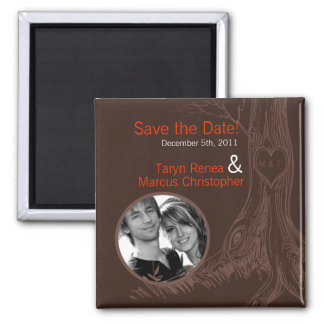"""2""""x2"""" Save the Date Magnet Fall Tree Initial Carvi"""