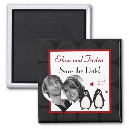"2""x2"" Save the Date Magnet Penguin Love Couple Mat"