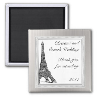 "2""x 2"" Announcement Magnet Black Eiffel Tower"