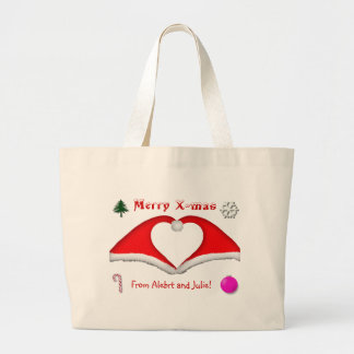2 Xmas hats form a heart and other decorations Bags