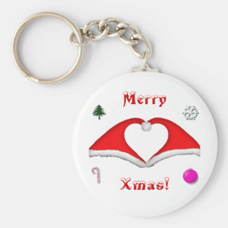 2 Xmas hats form a heart and other decorations Keychain