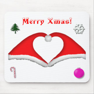 2 Xmas hats form a heart and other decorations Mouse Pad