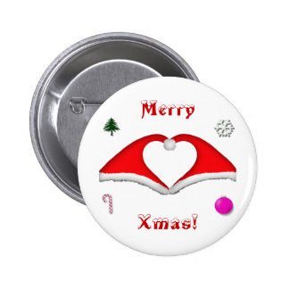 2 Xmas hats form a heart and other decorations Pinback Button