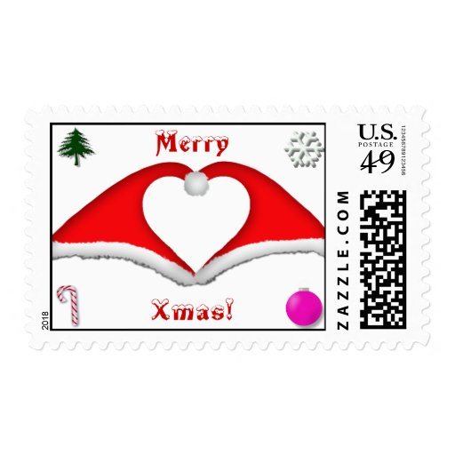 2 Xmas hats form a heart stamp - merry xmas