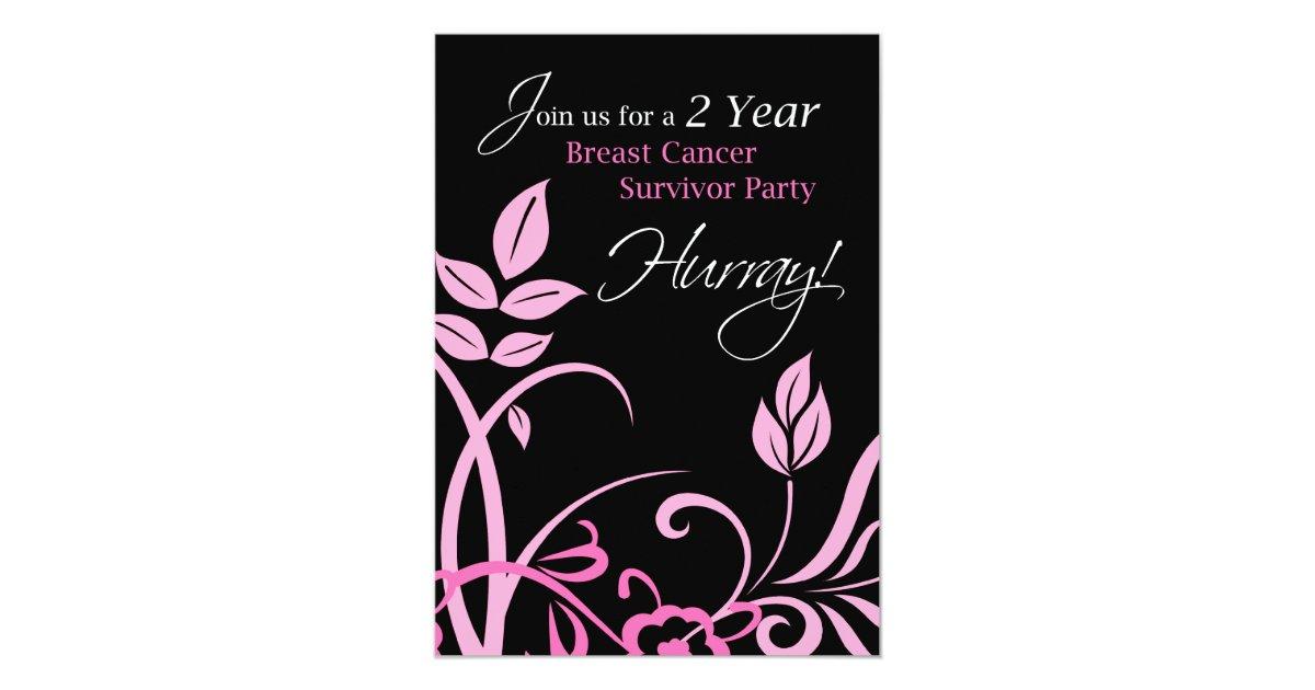 2 Year Breast Cancer Survivor Party Invitation | Zazzle.com