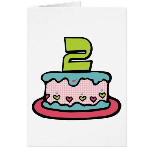 2 Year Old Birthday Cake Card