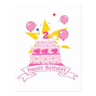 2 Year Old Birthday Cake Postcard