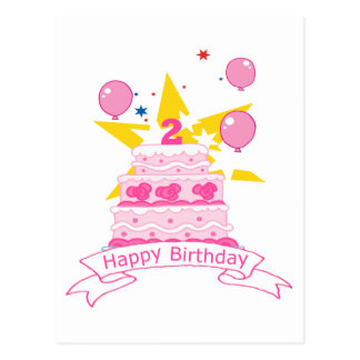 2 Year Old Birthday Cake Postcard