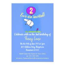 2 year old birthday funny sheep cartoon invitation