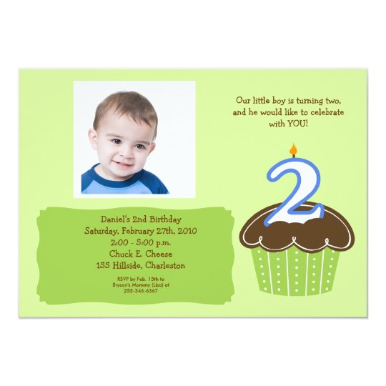 2 year old CUPCAKE PHOTO BIRTHDAY INVITE – 2 Year Old Birthday Invites