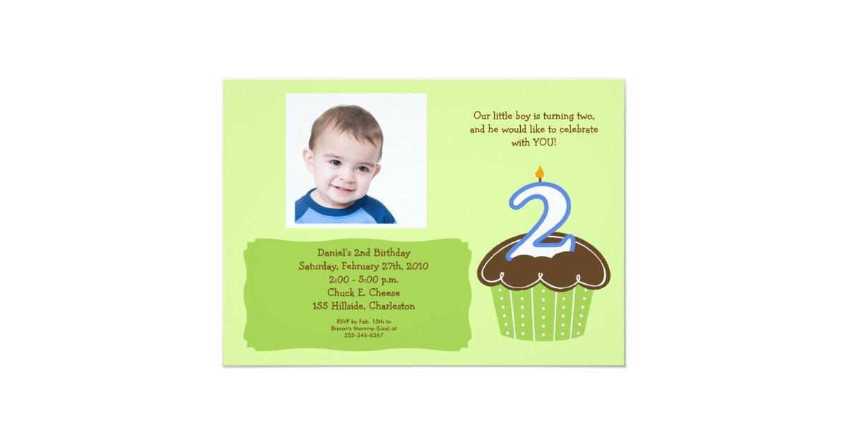 2 Year Old Cupcake Photo Birthday Invite Zazzle Com