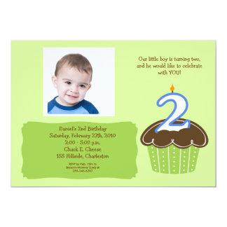 "2 year old CUPCAKE PHOTO BIRTHDAY INVITE 5"" X 7"" Invitation Card"