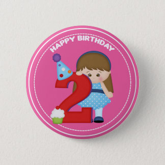 2 year old girl Birthday Button