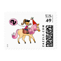 2 year old girl on a pony postage