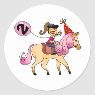2 year old girl on a pony stickers