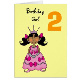2 year old princess (black hair) greeting card