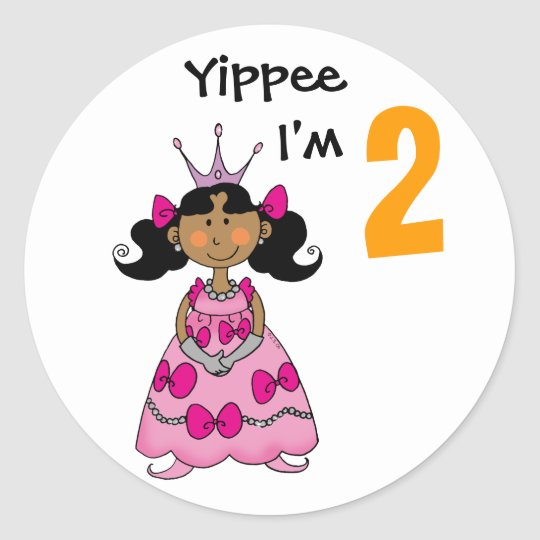 2 year old princess (black hair) classic round sticker