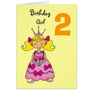2 year old princess (blonde hair) greeting card