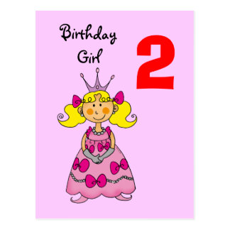 2 year old princess (blonde hair) postcard