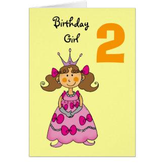 2 year old princess (brown hair) greeting card