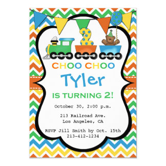 2 Year Old Train Birthday Party Invitation