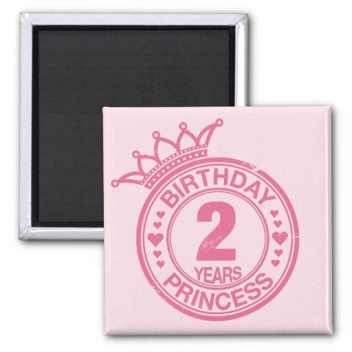 2 years - Birthday Princess - pink Fridge Magnets