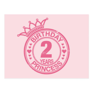 2 years - Birthday Princess - pink Postcard
