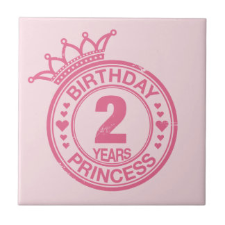 2 years - Birthday Princess - pink Small Square Tile