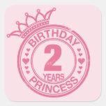 2 years - Birthday Princess - pink Stickers