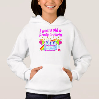 2 YEARS OLD AND READY TO PARTY BIRTHDAY GIRL HOODIE