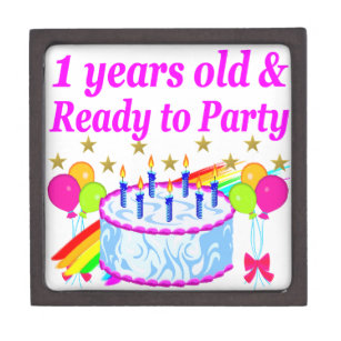 2 YEARS OLD AND READY TO PARTY BIRTHDAY GIRL KEEPSAKE BOX