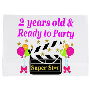 2 YEARS OLD AND READY TO PARTY SUPER STAR LARGE GIFT BAG