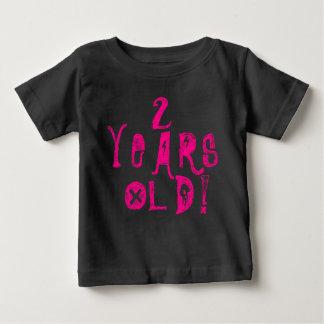 2 years old cute baby shirt neon skull rock pink
