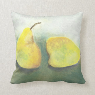 2 Yellow and Green Pears Throw Pillow