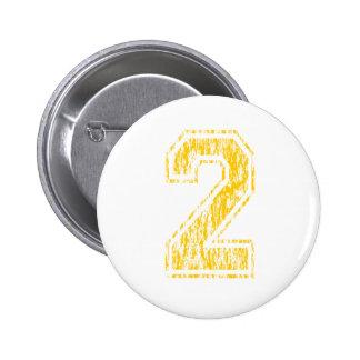 #2 Yellow Varsity 2 Inch Round Button