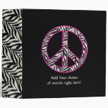 "2""  Zebra Print Peace Sign Binder"