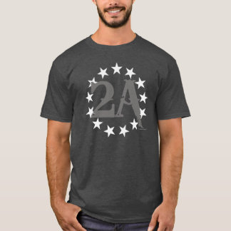 2A 2nd Amendment 13 Stars American Flag (Gray) T-Shirt