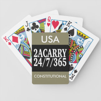 2A CARRY 24/7/365 GUN RIGHTS BICYCLE PLAYING CARDS