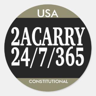 2A CARRY 24/7/365 GUN RIGHTS CLASSIC ROUND STICKER