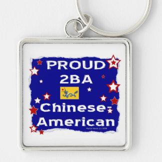 2BA orgulloso Chinese2-American Llavero Cuadrado Plateado
