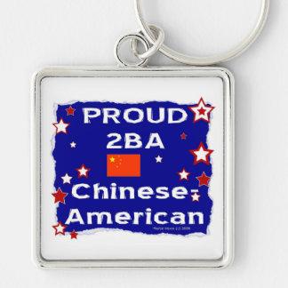 2BA orgulloso Chino-Americano Llavero Cuadrado Plateado