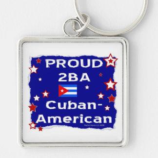 2BA orgulloso Cubano-Americano Llavero Cuadrado Plateado