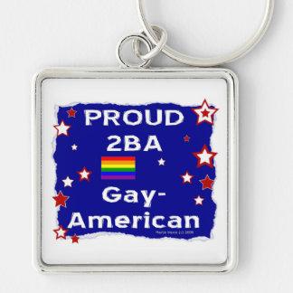 2BA orgulloso Gay-Americano Llavero Cuadrado Plateado