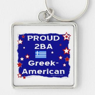 2BA orgulloso Griego-Americano Llavero Cuadrado Plateado