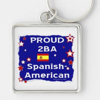 2BA orgulloso hispanoamericano Llavero Cuadrado Plateado