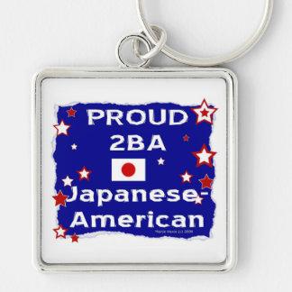 2BA orgulloso Japonés-Americano Llavero Cuadrado Plateado